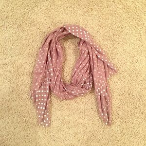 Tan and sliver polka dot scarf